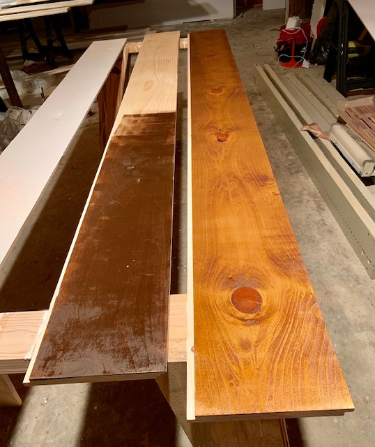 Staining boards for a DIY shiplap ceiling