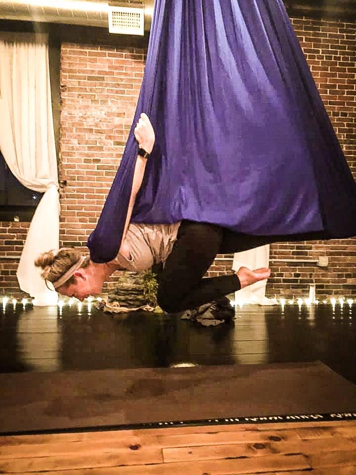 aerial yoga beginner pose