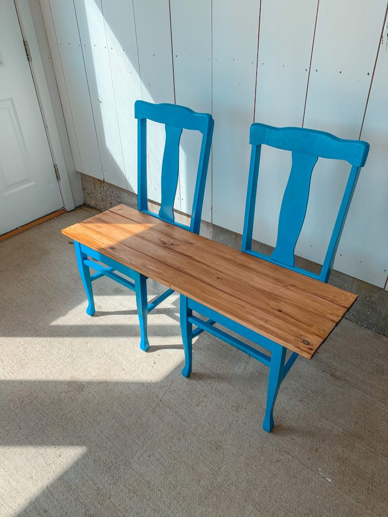 assembling upcycled bench