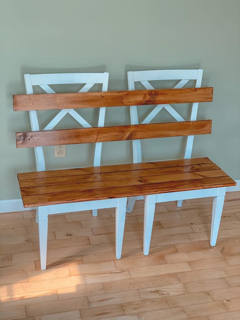 Easy DIY mudroom bench tutorial final product