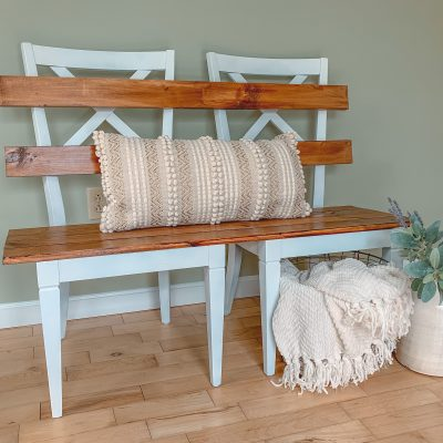 Finshed DIY Mudroom Bench