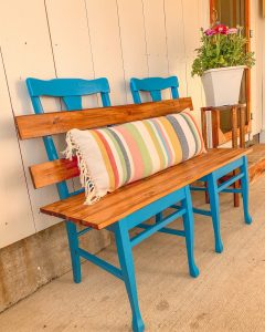 finished upcycled bench project
