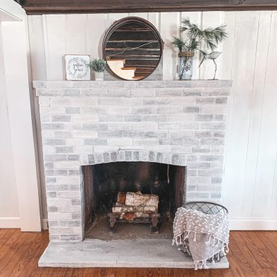 DIY Whitewashed Brick Fireplace: Step by Step Tutorial