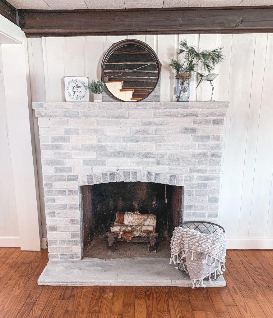 Finished white washed fireplace