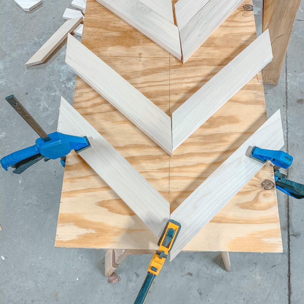 placing boards for herringbone coffee table