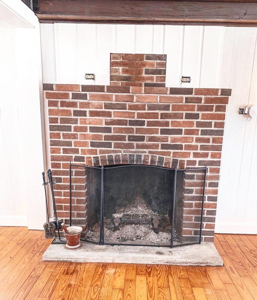 brick fireplace before
