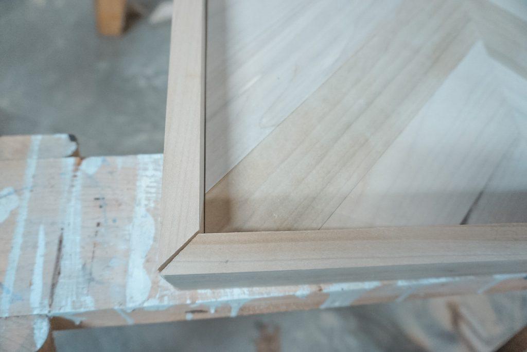 herringbone coffee table corners
