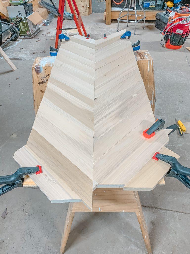 herringbone coffee table glueing the boards