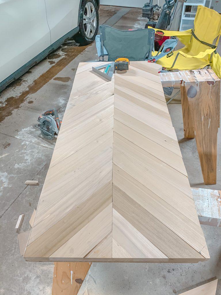 herringbone coffee table trimmed edges