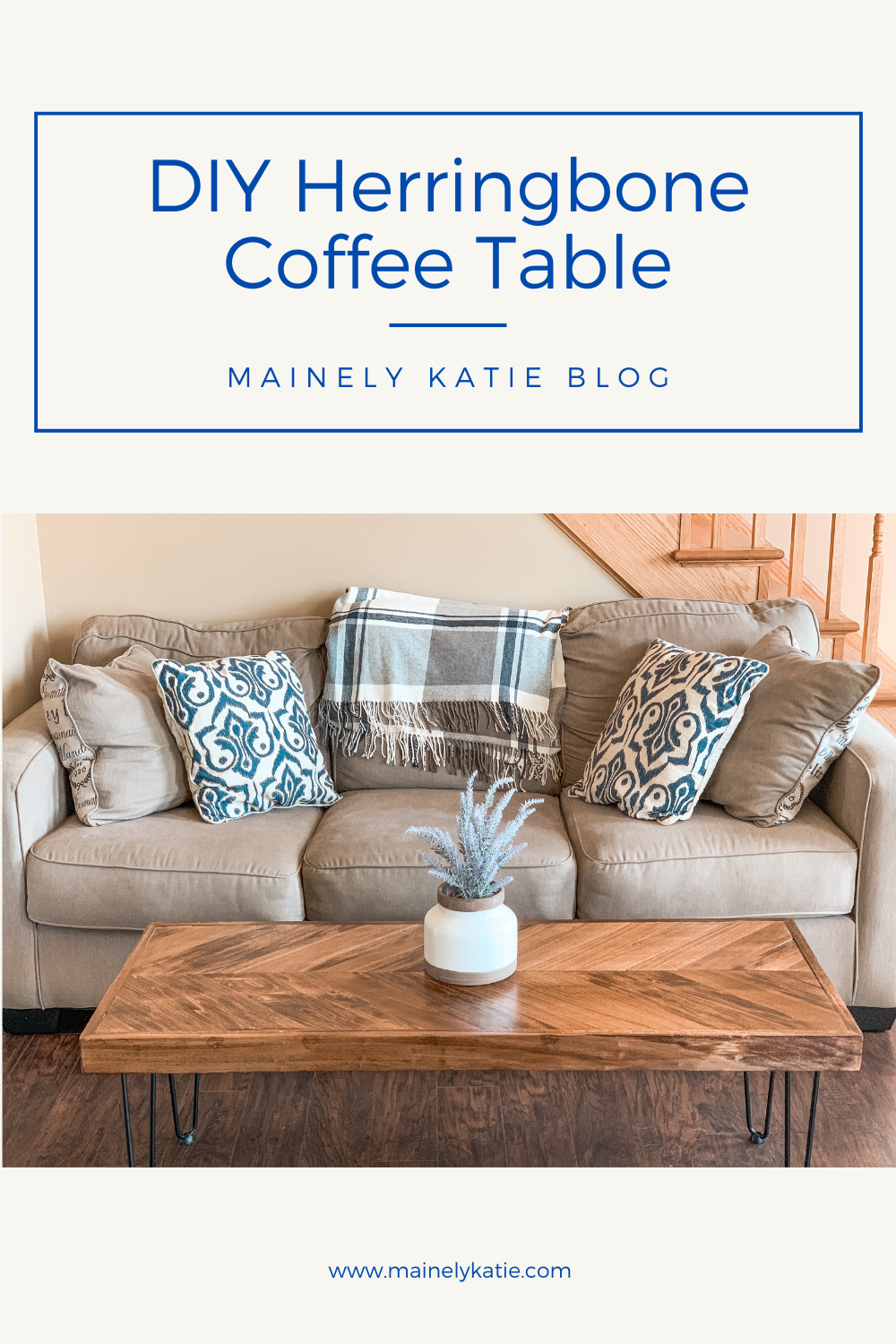 I really love the way that this coffee table turned out! If you are familiar with a few power tools, you will have no problems making your own DIY Herringbone coffee table. Check out my post for the full step by step tutorial!