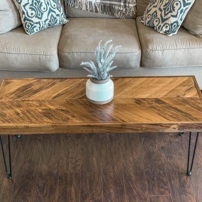 DIY Herringbone Coffee Table