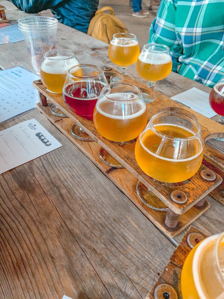Beer flight Allagash Brewing