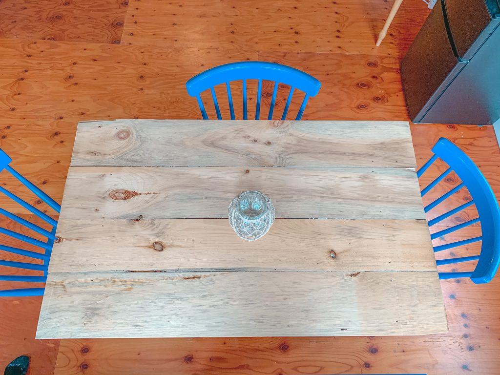 upcycled kitchen table top after