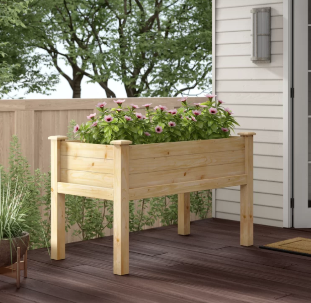 raised garden bed on legs