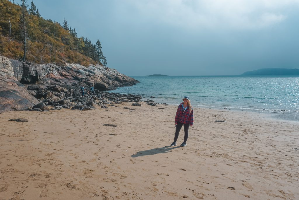 Walking on Sand Beach in Acadia National Park