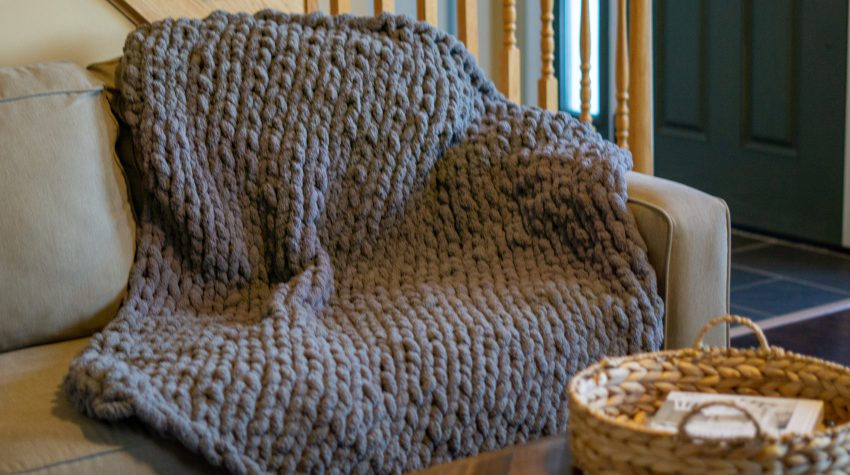diy knit blanket tutorial