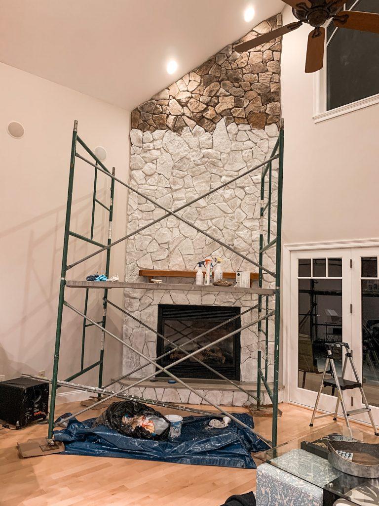 DIY whitewashed fireplace tutorial