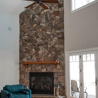 Whitewash Stone Fireplace Step by Step Tutorial